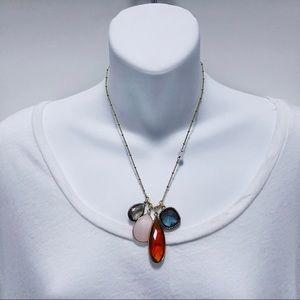 ANTHROPOLOGIE Multi-Colored Stone Pendant Necklace